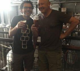 Leo & Vic enjoying a brew at Dainton Brewery