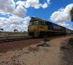 The Indian Pacific National NR35 departing Cook heading west