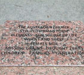 Plaque on front side of The Australian Farmer, Wudinna
