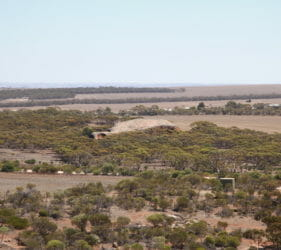 View from Mount Wudinna looking at Turtle Rock, South Australia