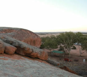 View to our camp from top of Pildappa Rock, Minnipa, South Australia