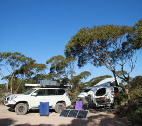 Our campsite near Nullarbor Roadhouse at Rest Area 222km Peg