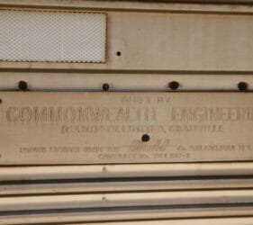 """Manufacturing plaque on the Indian Pacific: """"Built by Commonwealth Engineering, Granville"""""""