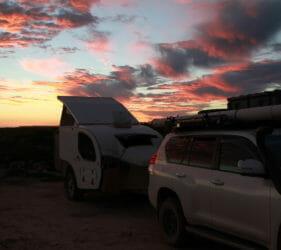 Sunset over the Bunda Cliffs from In Between the Dunes campsite