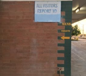 All visitors report to Mens Toilets?
