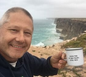 Vic enjoying a coffee overlooking the Bunda Cliffs from In Between the Dunes campsite