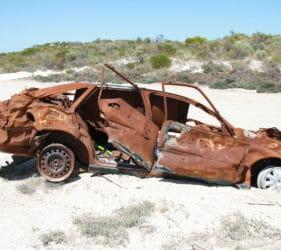 Carcasse on Second Beach Road, near Wauraltee Beach, Yorke Peninsula, South Australia