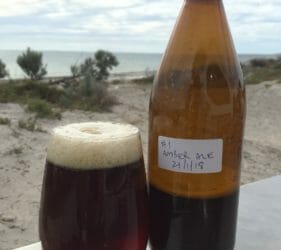 Enjoying a Coopers homebrew Amber Ale at Wauraltee