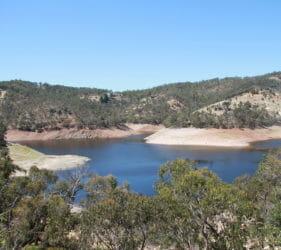 Kangaroo Creek Dam. Water level low due to Dam upgrade