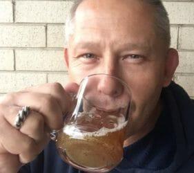Vic enjoying a swig of the brew